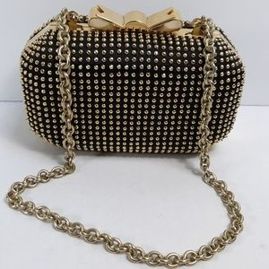 MOSCHINO Couture Gold Studded Clutch Bow Bag